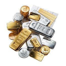 Geschenkkarte Goldkammer Vorderseite: 1 g Goldbarren -  Büste des Licinius
