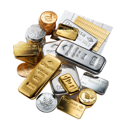 50 g Degussa Combicube Goldbarren